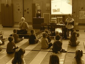 Julie doing a yoga presentation at Central Square school.